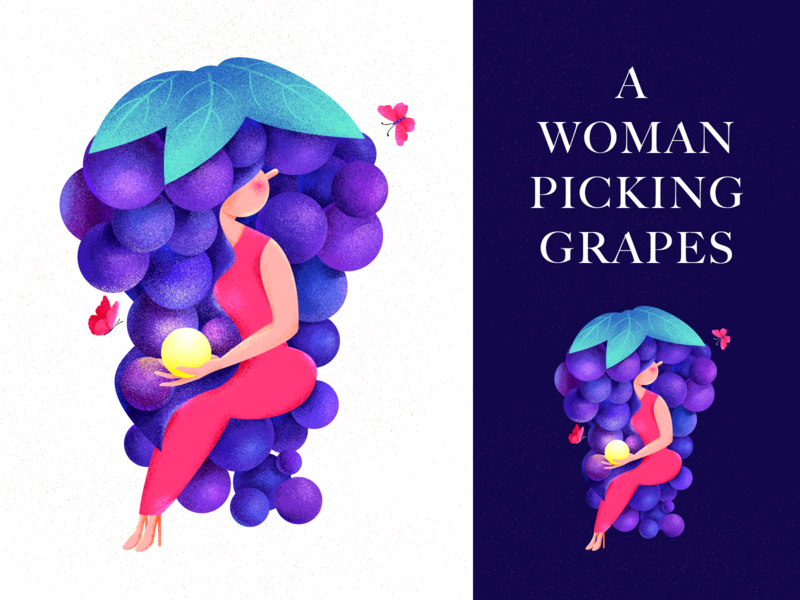 A woman picking grapes luminous design creative mission magic butterfly people girl woman grape illustration