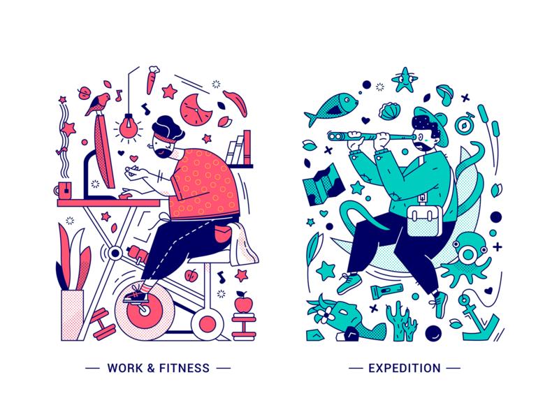 Doodle-style illustration label barbola story seabed expedition fitness sports work doodle illustration