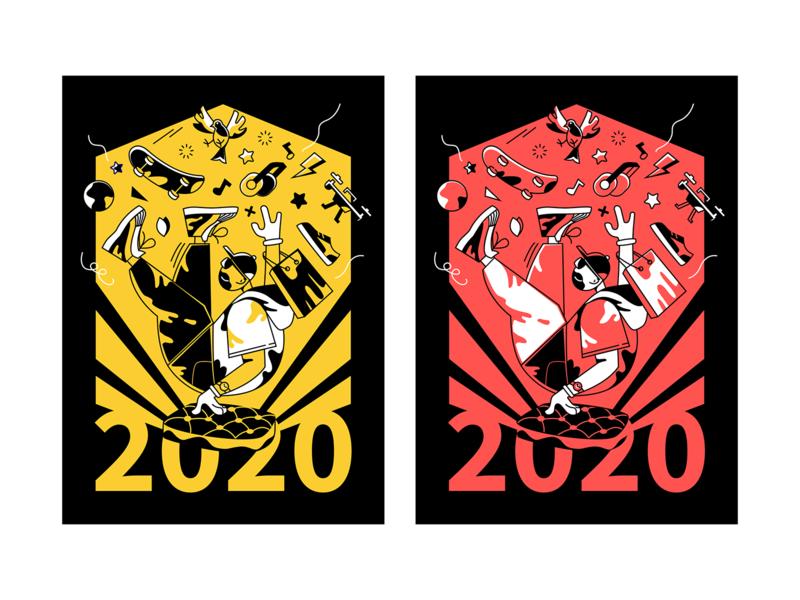 Welcome to 2020 happy jump graffiti shopping hip-hop cruel boy 2020 new year illustration