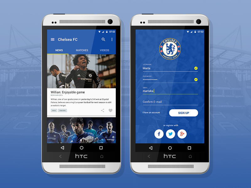 Chelsea FC Android Application By Marta Kakozwa On Dribbble