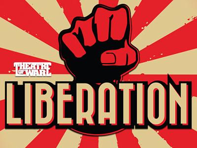 Liberation sunburst vector poster branding typography fictional company logo