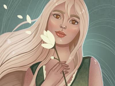Spring girl flower woman portrait illustration character