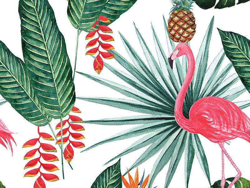 Flamingo Tropical Botany Watercolour