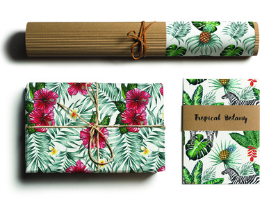 Tropical Botany branding packaging paper craft pattern tropical cover book background textile print mockup watercolour package brand packaging branding