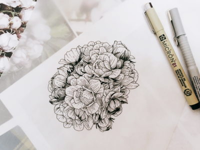 Line Art Flower Drawing : Buds flowers line art drawing style by planolla dribbble