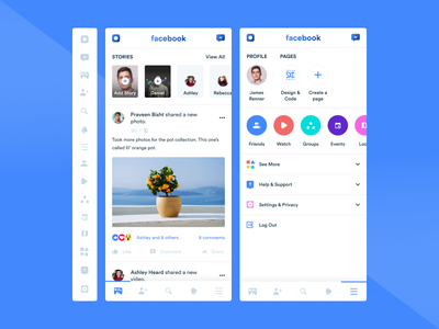 Facebook ui concept illustrations youtube app facebook