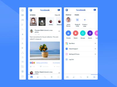 Facebook ui concept illustrations youtube app facebook