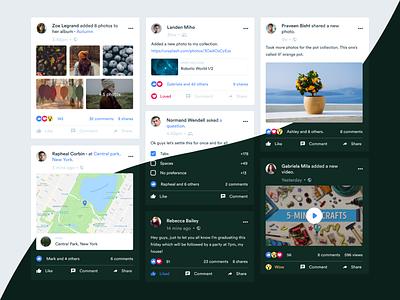 Facebook - Posts redesign clean post dark light concept facebook