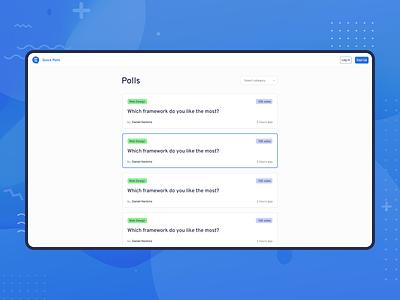 Quick Polls - Landing page concept app vote polls