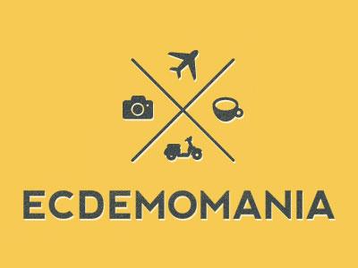 Ecdemomania Logo 2 logo nevis font texture pictogram travel