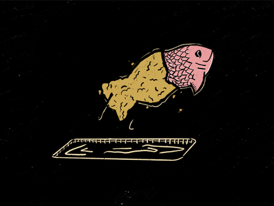 Fried fish freedom hi-kuu vector illustration kuuhubbard fried inktober fish