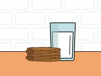 A stack of cookies and a tall glass of milk