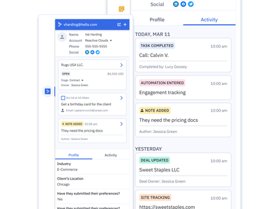 ActiveCampaign for Gmail gmail ui ux product design redesign activecampaign crm chrome chrome extension