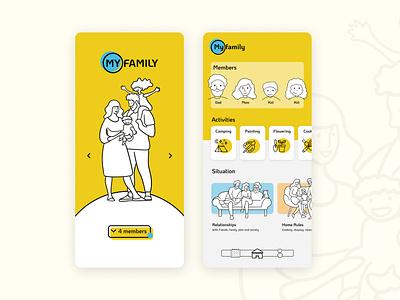 MY FAMILY ux illustration design app ui