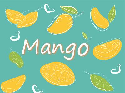 Mango design artist illustrator vector art health social media line drawing line art flat design character app design illustration character design adobe illustrator 2d food branding graphic design logo ui