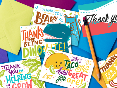 Let Grow Thank You Cards bear grow dinosaur taco puns thank you card thank you digital typography type handlettering lettering procreate design illustration