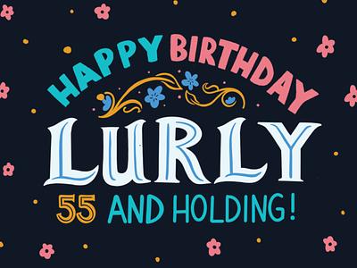 Lurly's Birthday Flag large format birthday flag design flag digital typography type handlettering lettering procreate design