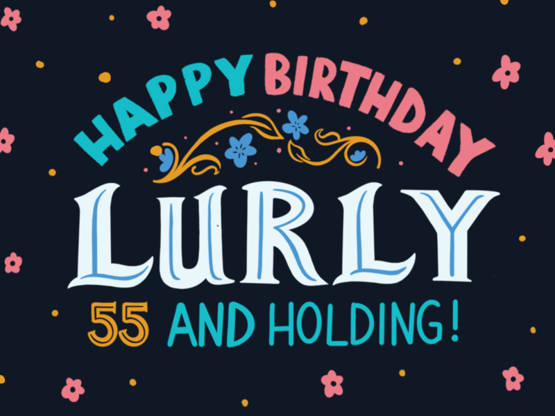 Lurly's Birthday Flag large format birthday flag design flag digital typography type handlettering lettering procreate design