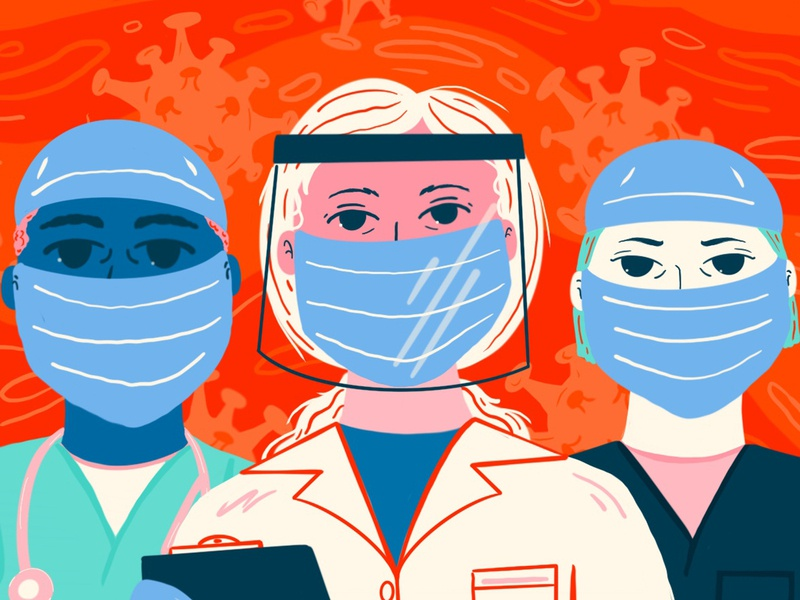 Face Masks for First Responders heros nurses doctors illustrate medical care facemask covid digital procreate design illustration