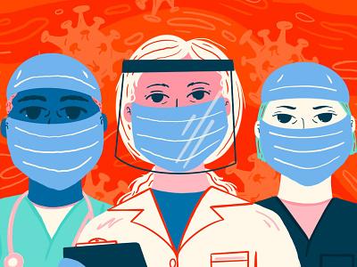 Face Masks for First Responders heros nurses doctors illustrate medical care facemask covid digital procreate design illustration