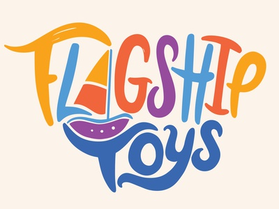 Flagship Toys Logo sail boat hand lettered logo branding design childrens illustration toys flagship ship flag logo branding digital type handlettering lettering procreate illustration design