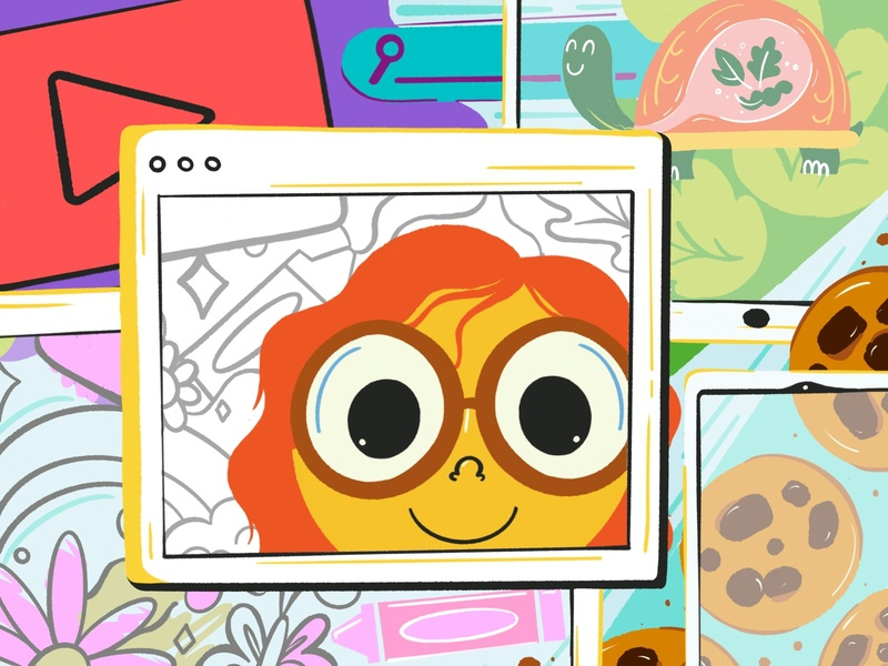 Screen Time hand drawn procreate art digital learning let grow screen time kids art kids illustration childrens illustration illustration art screen procreate design illustration