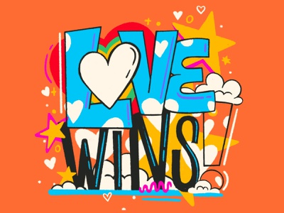 Love WINS! procreate art love illustration digital typography type handlettering lettering procreate design