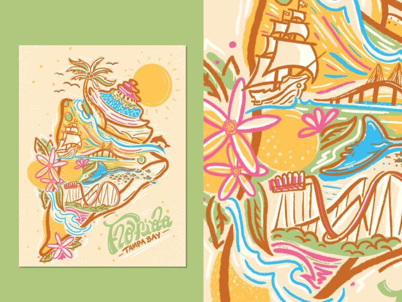 When You Think of Home digital fundraising home print poster illustration poster design poster art tampa tampa bay sunshine shell florida handlettering procreate design illustration