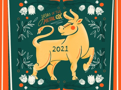 Year of the Metal Ox - 2021 digital art hand drawn illustration digital flower illustration lucky bamboo lily new year 2021 ox chinese new year procreate art digital handlettering lettering procreate illustration
