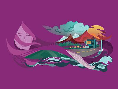 Lady of the Land travel earth landscape women digital design illustration