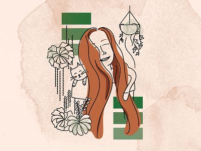 Cats, Plants and Me! photoshop brushes watercolor portrait profile branding cat succulents plants hair illustration vector