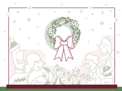 Rockin' around the Holiday Wreath season illustration vector home joy love friends family holiday happy wreath