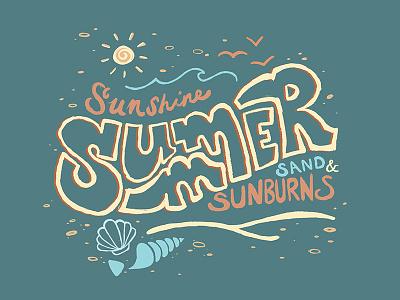 Summertime shells sunburn sand sunshine illustration summer art digital procreate lettering handlettering
