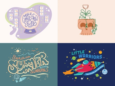 My 2018: Top4 year in review skull space summer grow fate procreate gif animation lettering type illustration vector top4 2018