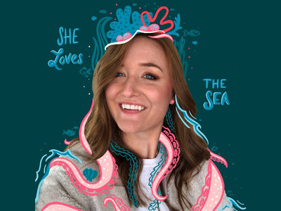 She Loves the Sea waves fish crown coral coral reef tentacle octopus digital art mixed media photography photo art design hand lettering lettering ocean sea procreate illustration
