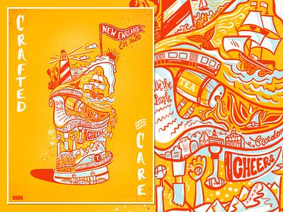 A New England Brew digital illustration handdrawn poster design fundraiser history bsdsbrews bsds beer craft poster boston new england brew handlettering procreate lettering design illustration