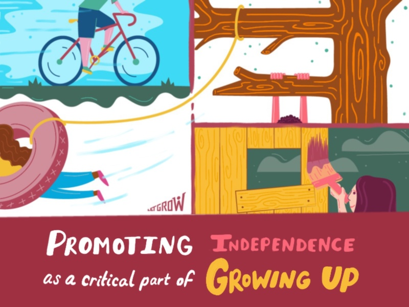 Let Grow - Promoting Independence kids illustration swing fort bike climbing grow independence childrens illustration handlettering procreate lettering design illustration