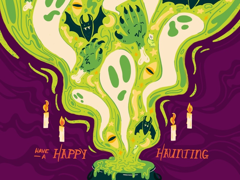 Happy Haunting! digital illustration hand drawn boo haunted spell dribbbleweeklywarmup witchy bats halloween haunting magic ghosts spooky digital handlettering procreate lettering design illustration