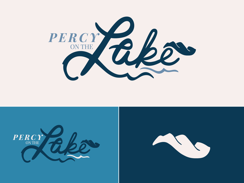 Percy on the Lake real estate logo real estate south carolina mountains lake logo branding digital typography type handlettering procreate lettering design