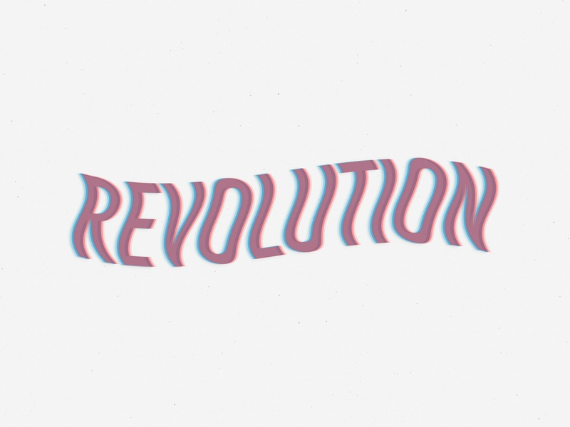Revolution equality retro love 2020 empower typography 3d type 3d anaglyphic