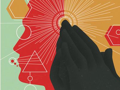 Psychology illustration editorial digital psychology praying bible psychologist