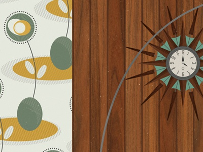 Wood Panelling  mid century 1950 wood paneling furniture interior clock wallpaper panelling