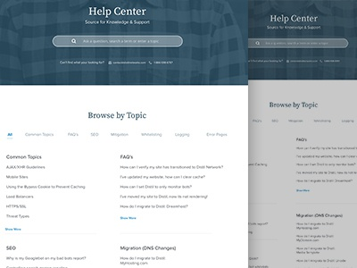 Help and Support Landing Page