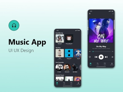 Music App UI/UX Design ui ux design ui ux music app ui design ux design music app graphic design ui