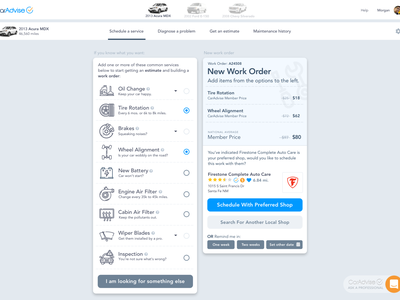 CarAdvise - Schedule Service light responsive design ui illustration application
