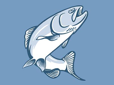 Jumpin' Trout branding fly fishing lake river three tone vector logo illustration icon fishing fish logo design logo illustration trout
