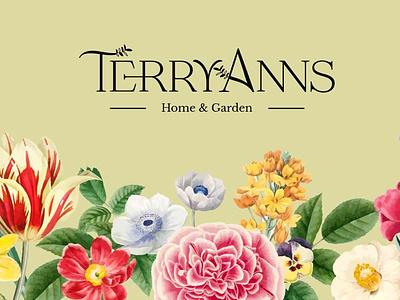 TerryAnns - Home & Garden Identity Branding serif floral beige natural nature e-commerce graphic design design logo branding