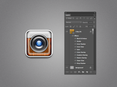 One Layer Style Camera.psd photoshop camera icon psd wood