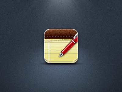 Notes notes icon apple pen ios iphone retina redesign yellow red