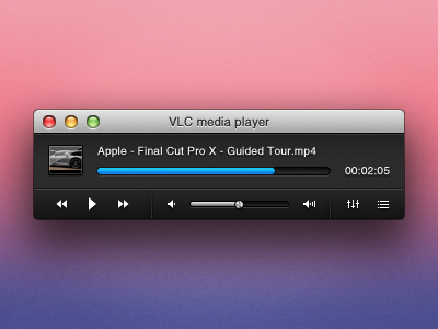 VLC X Controller vlc mac black lion ui controller movie player theme app redesign concept